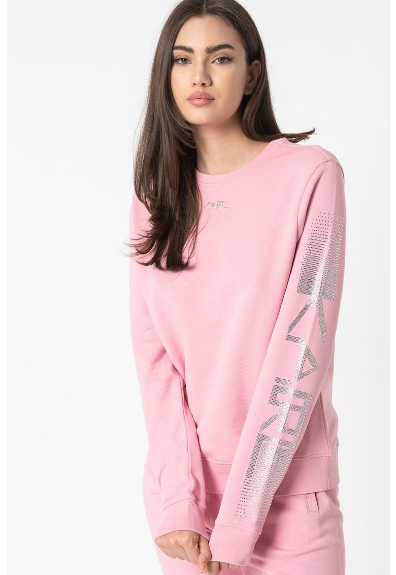 Bluza sport regular fit de casa cu logo din strasuri