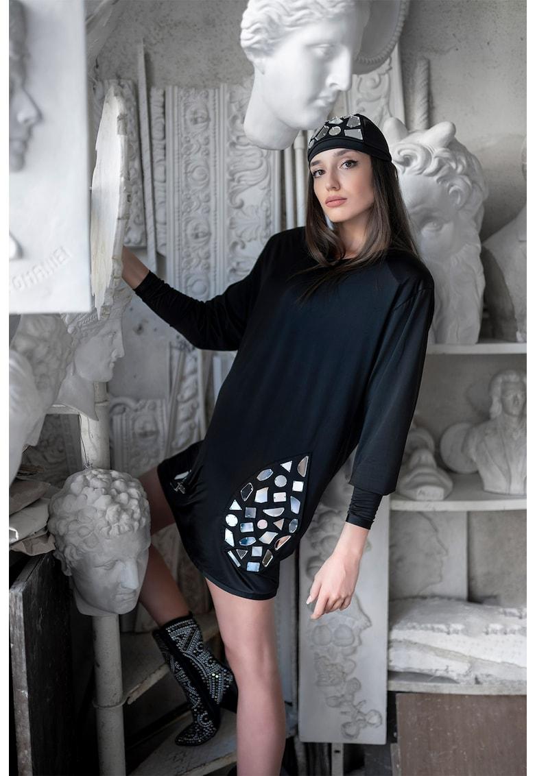 Mitiliane Couture Rochie supradimensionata cu aplicatii oglinda
