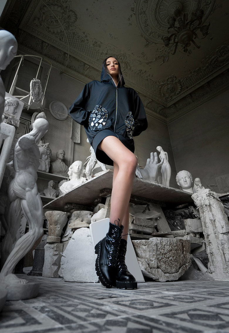 Mitiliane Couture Hanorac cu aplicatii oglinda