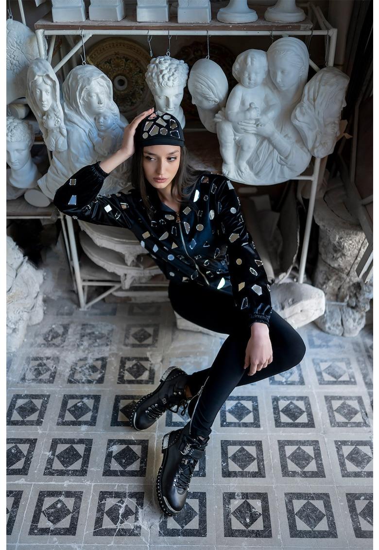 Mitiliane Couture Jacheta bomber de catifea cu fermoar