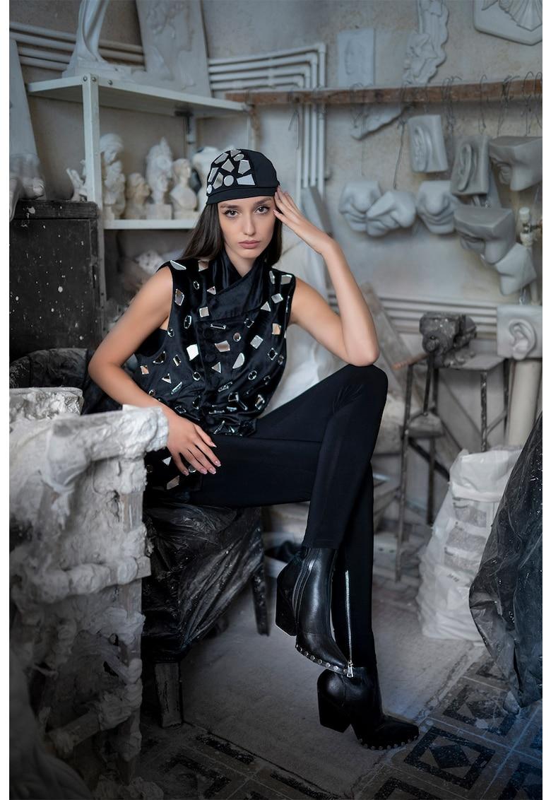 Mitiliane Couture Vesta de catifea cu aplicatii oglinda
