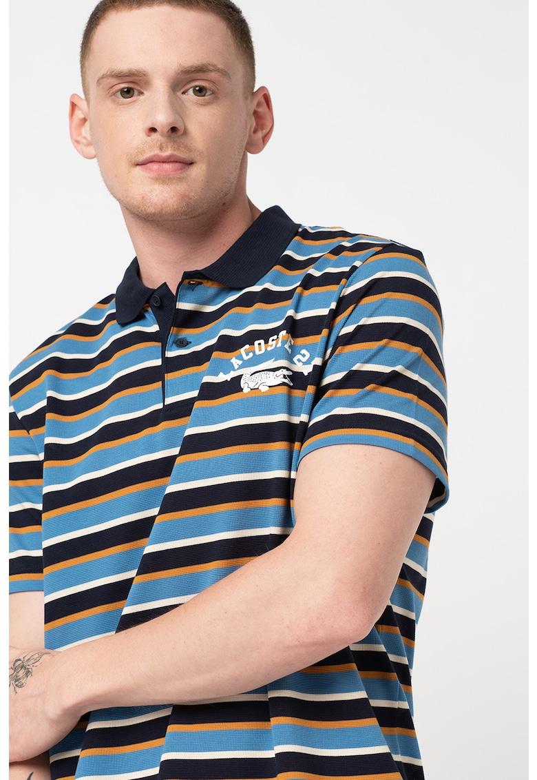 Tricou polo in dungi cu imprimeu logo