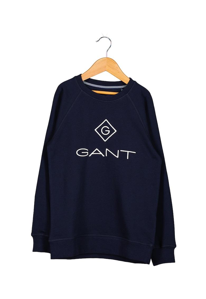 Bluza sport cu imprimeu logo si maneci raglan
