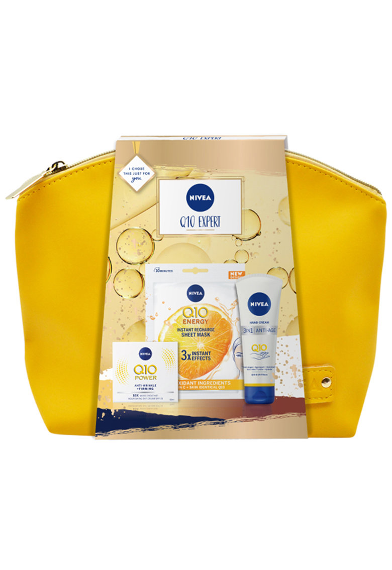 Nivea Set cadou : Crema Nivea Anti-rid Q10 de zi - 50 ml + Masca servetel Q10 + Crema pentru maini 3-in-1 Q10 anti-imbatranire - 100 ml