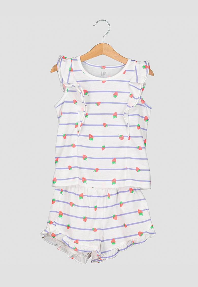 Pijama cu imprimeu si volane