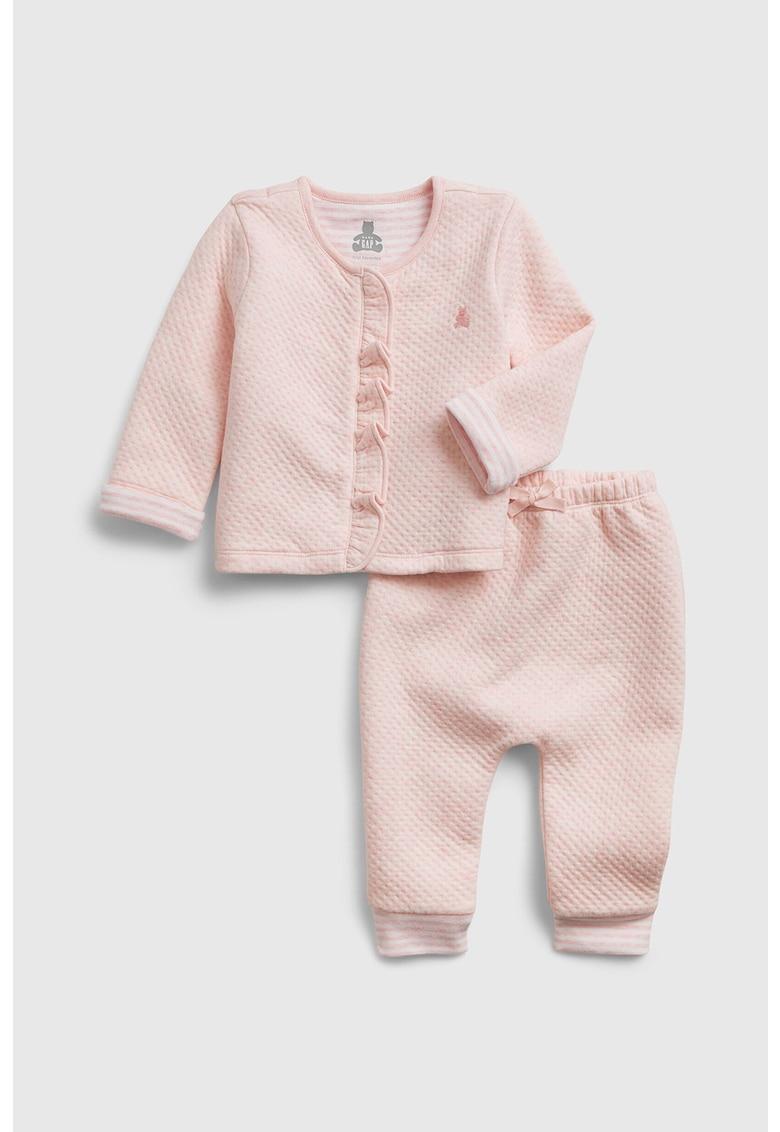 Set de bluza si pantaloni cu aspect texturat poza fashiondays