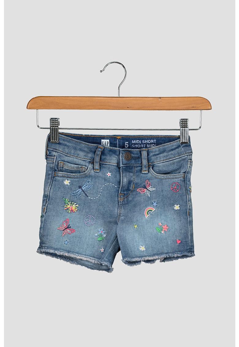 Pantaloni scurti de denim cu detalii brodate imagine fashiondays.ro 2021