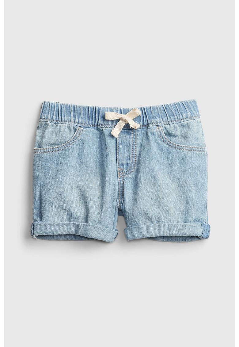 Pantaloni scurti de denim cu snur in talie poza fashiondays