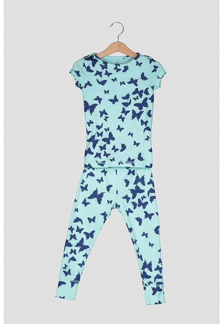 Pijama cu maneci scurte si fluturi imagine fashiondays.ro 2021