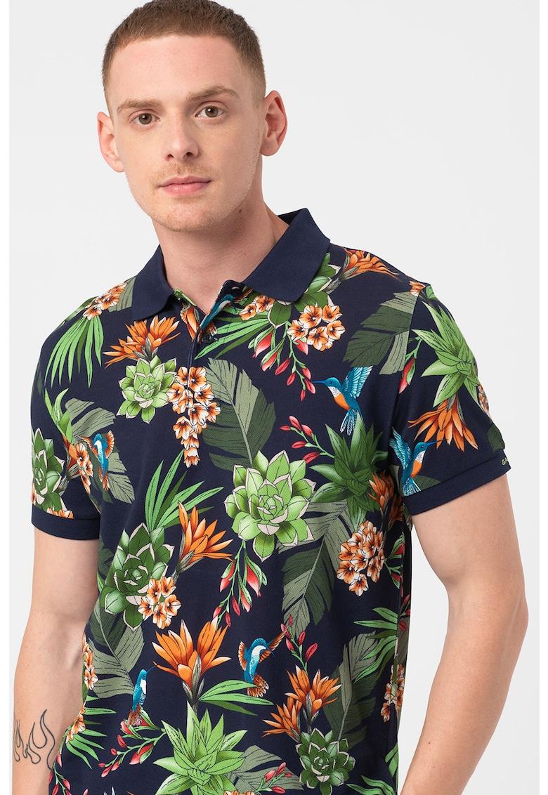 Tricou polo de bumbac cu model tropical