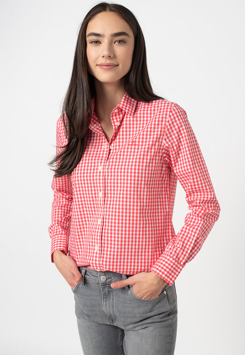 Camasa relaxed fit cu model gingham Broadcloth imagine fashiondays.ro 2021