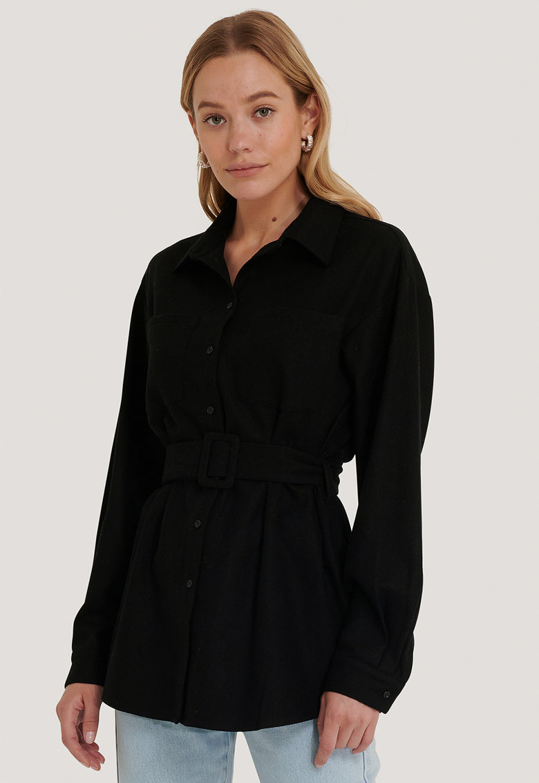 Jacheta tip camasa din amestec de lana cu nasturi si curea imagine