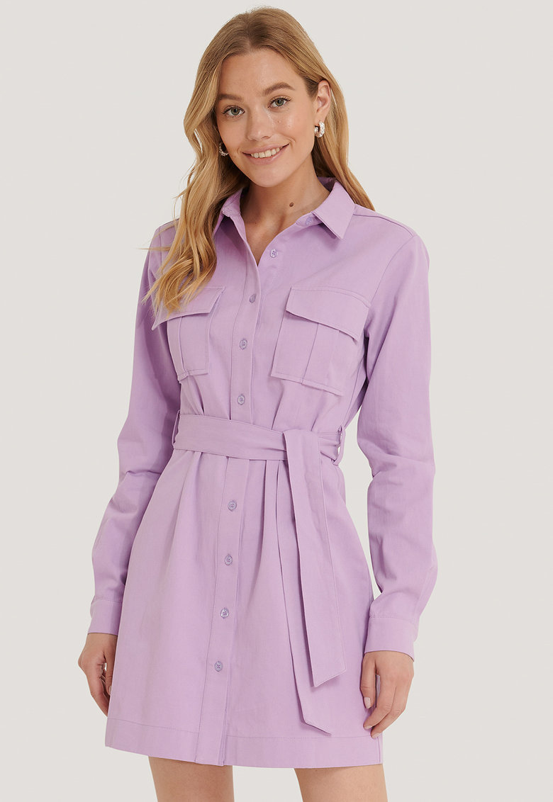 Rochie mini tip camasa cu cordon in talie NA-KD fashiondays.ro
