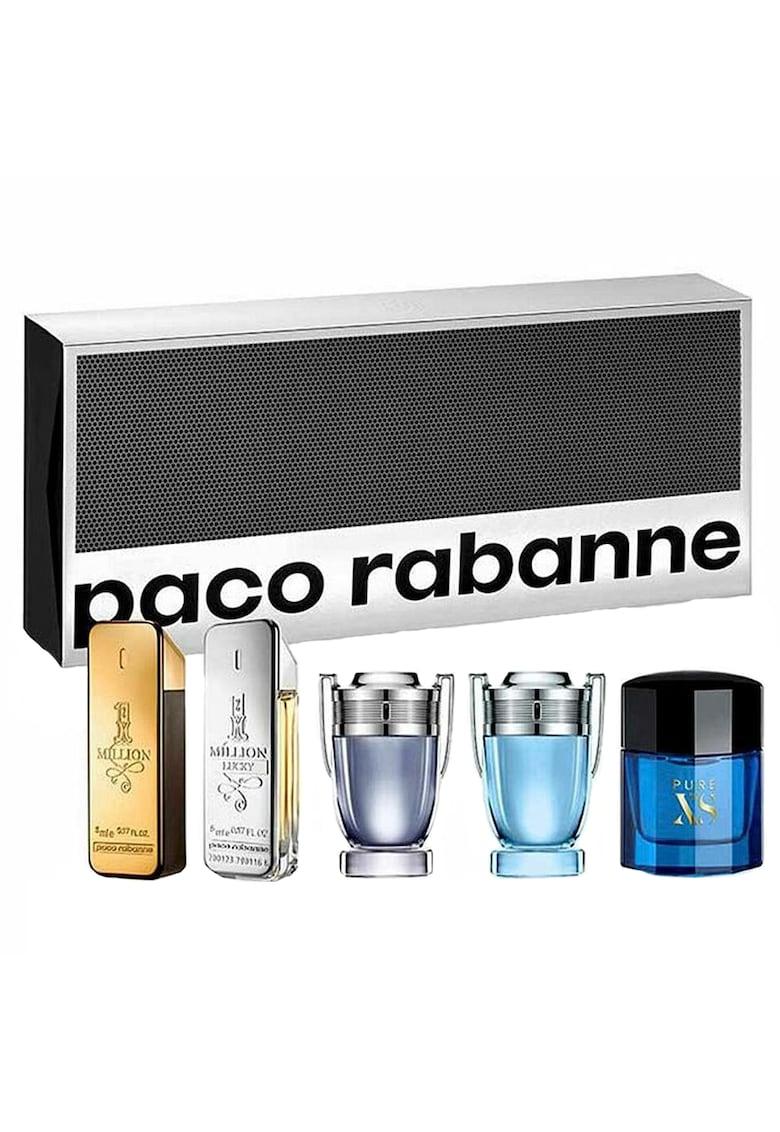 Paco Rabanne Set  Barbati: Apa de Toaleta - 1 Million - 5 ml + Apa de Toaleta 1 Million Lucky - 5 ml + Apa de Toaleta Invictus - 5 ml + Apa de Toaleta Invictus Aqua - 5 ml + Apa de Toaleta Pure XS - 6 ml