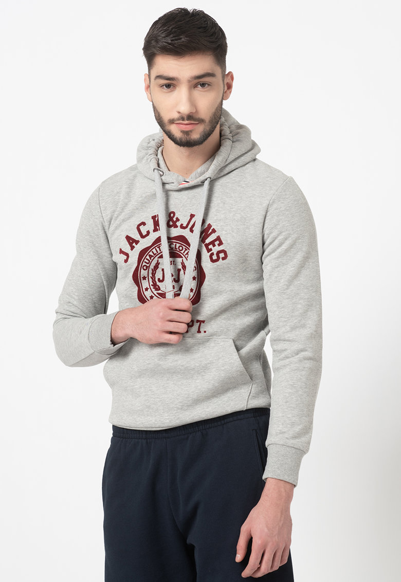 Hanorac regular fit cu imprimeu logo Flock