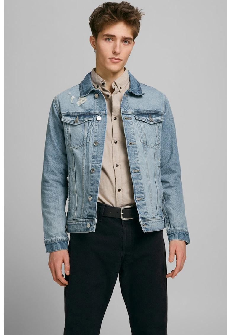 Jacheta din denim cu detalii cu aspect deteriorat