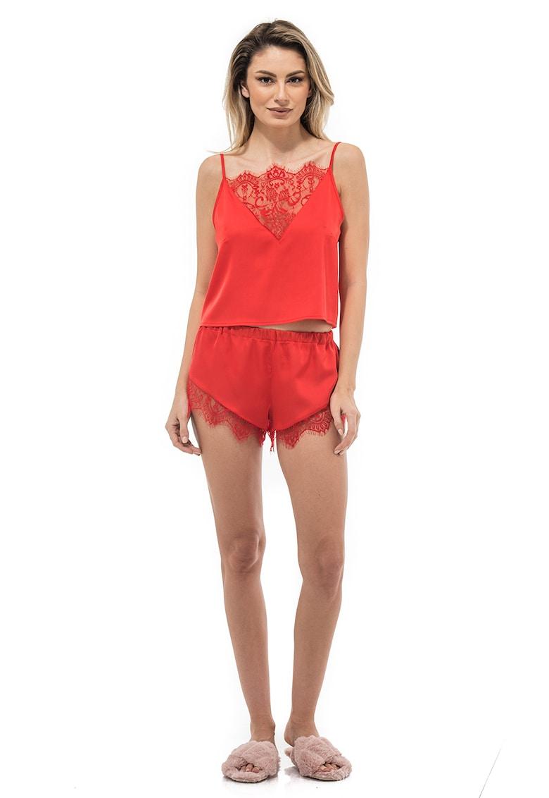 ATELIER DE CREATIE VIGO - Pantaloni scurti cu garnitura de dantela Helen imagine fashiondays.ro