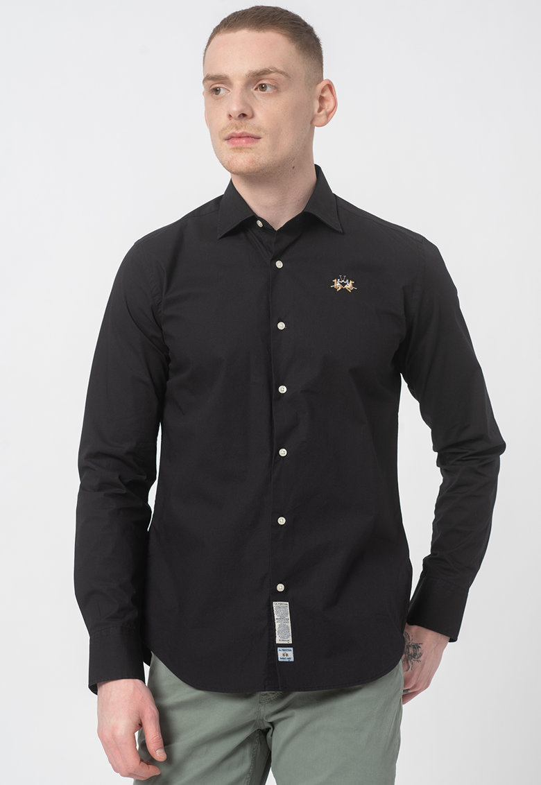 Camasa slim fit cu logo brodat imagine fashiondays.ro 2021