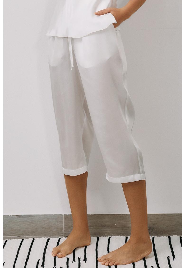 Pantaloni trei sferturi de pijama cu aspect de satin Less Is More imagine