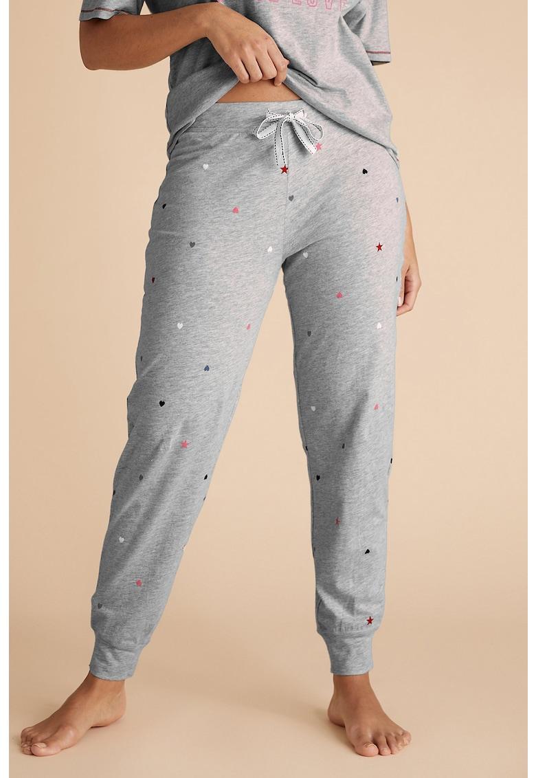 Pantaloni de pijama cu imprimeu stele si inimi
