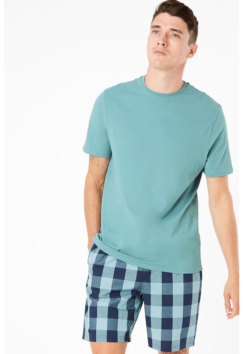 Pijama cu pantaloni scurti in carouri
