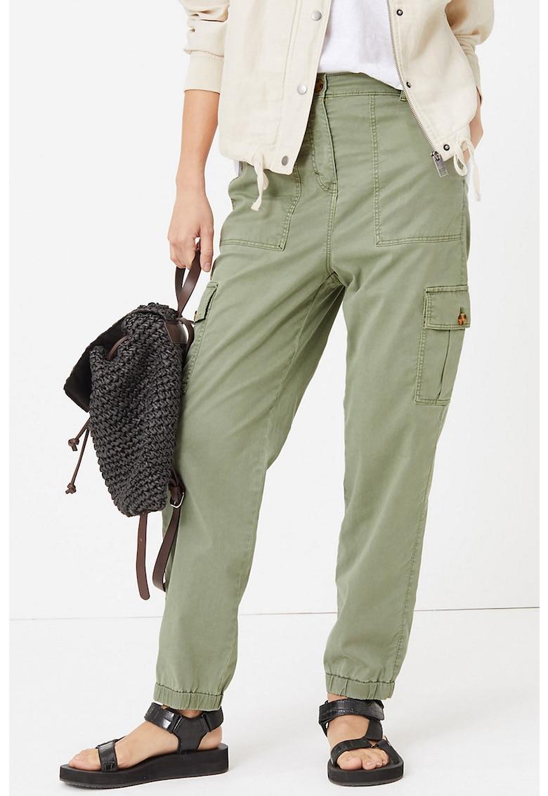 Pantaloni cargo conici din amestec de lyocell