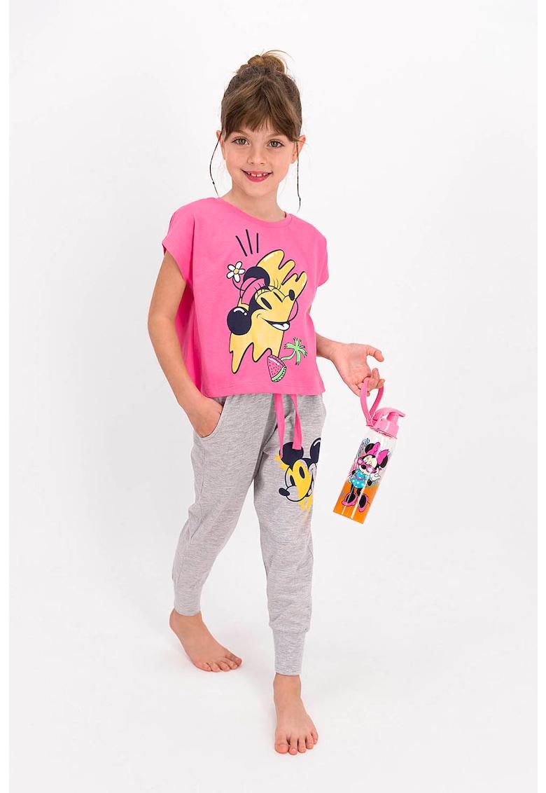 Pijama cu imprimeu cu Mickey si Minnie Mouse