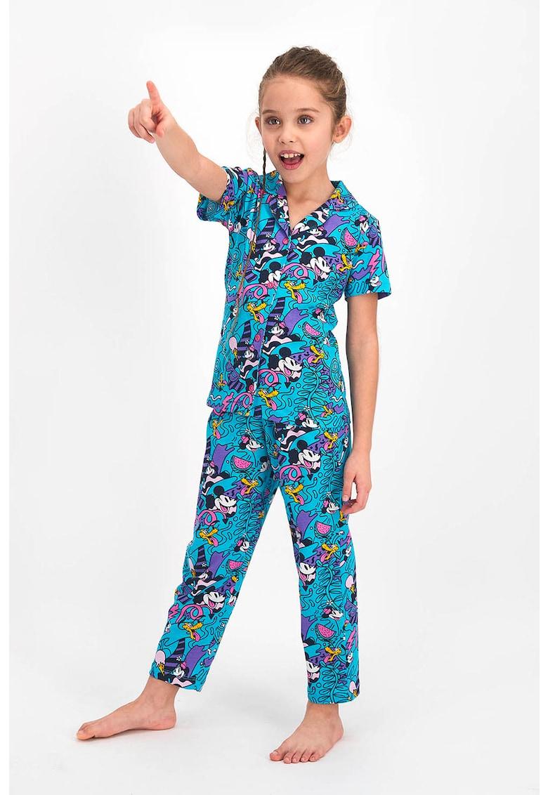 Disney Pijama cu imprimeu cu Mickey si Minnie Mouse
