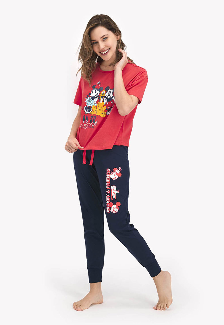 Pijama cu imprimeu si pantaloni lungi