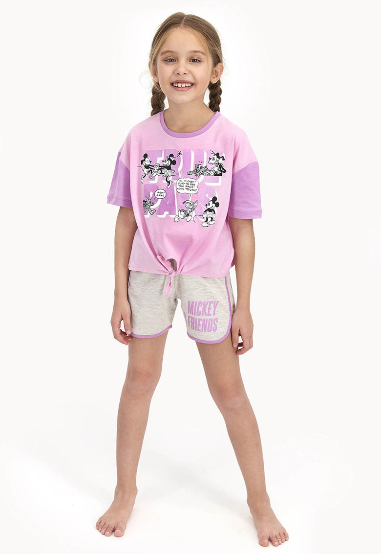 Pijama cu imprimeu si pantaloni scurti imagine