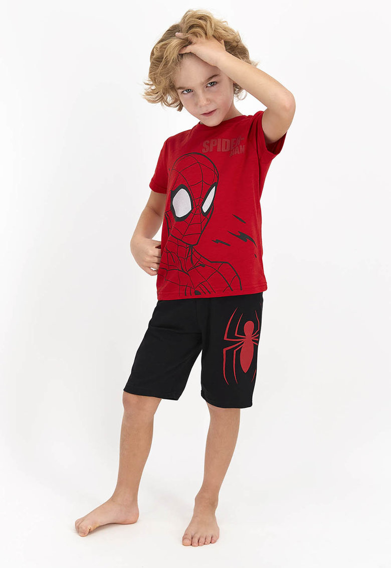 Pijama cu imprimeu cu desene si cu pantaloni scurti imagine