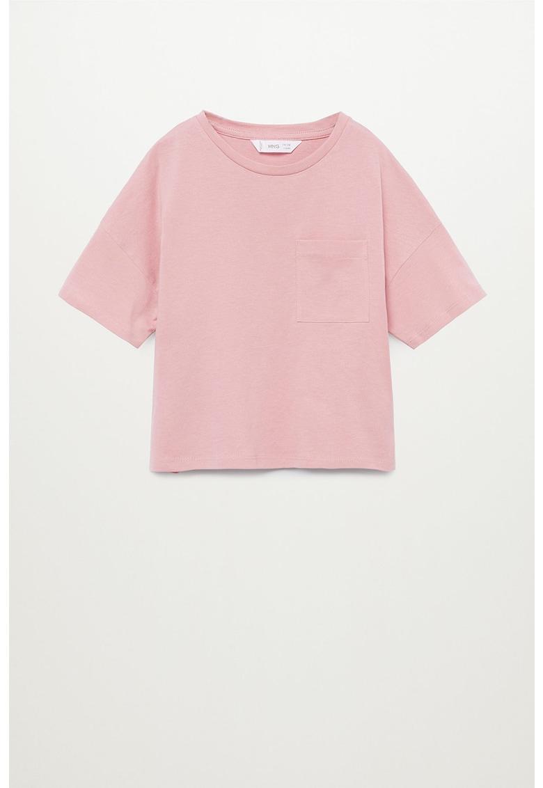 Tricou de bumbac organic cu buzunar pe piept Basic