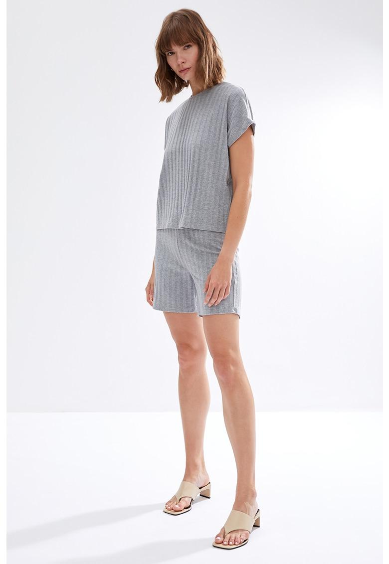 Pijama din jerseu cu striatii si maneci lungi poza fashiondays