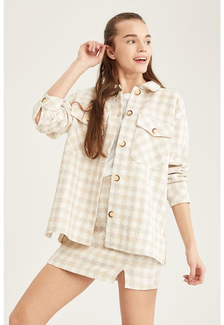 Jacheta tip camasa cu model gingham si buzunare cu clapa imagine fashiondays.ro