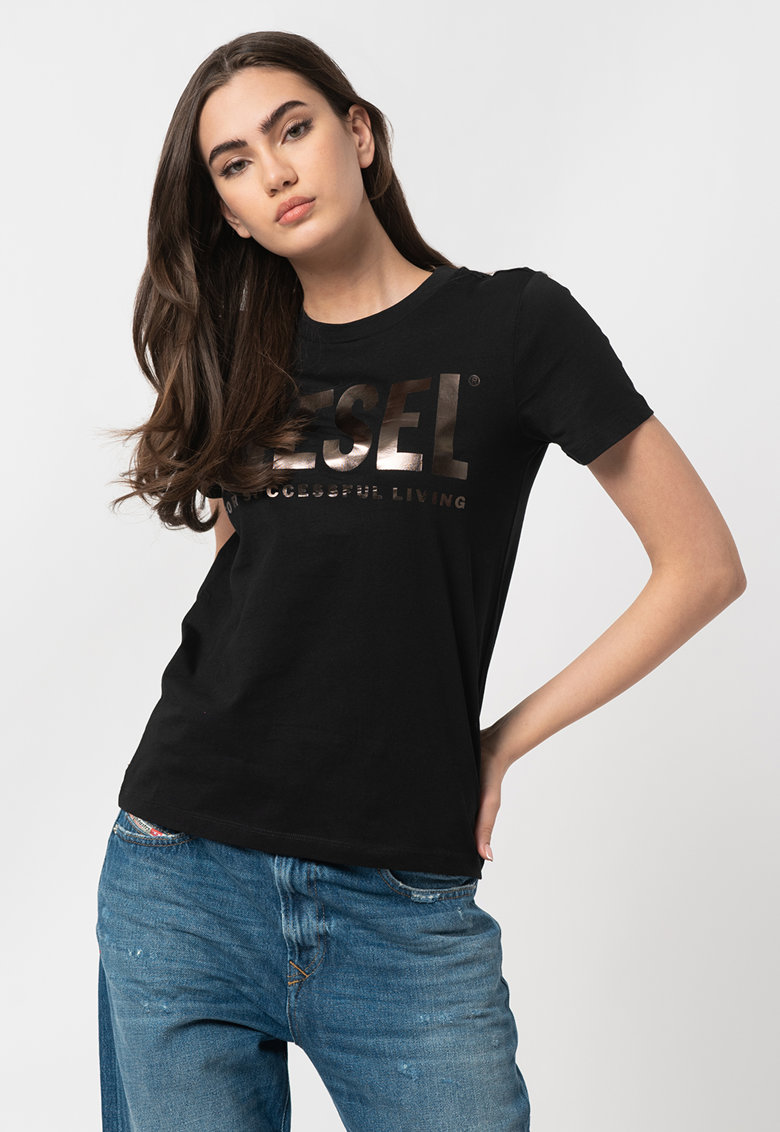 Tricou cu imprimeu logo metalizat Sily Diesel fashiondays.ro