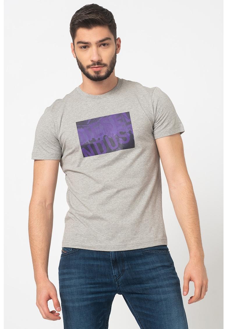 Tricou slim fit cu imprimeu logo T-Diegos poza fashiondays