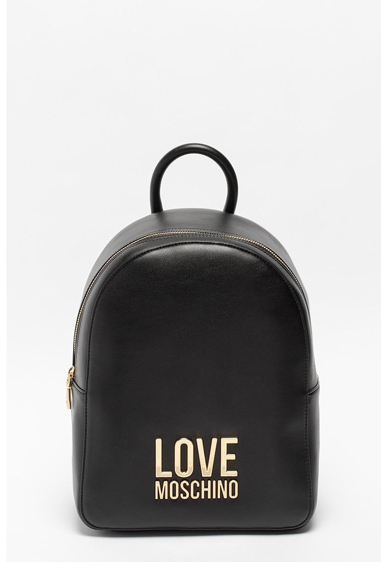 Rucsac de piele ecologica cu aplicatie cu logo metalic Love Moschino fashiondays.ro
