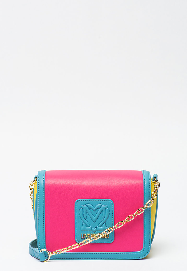 Geanta crossbody de piele ecologica cu aspect colorblock Love Moschino fashiondays.ro
