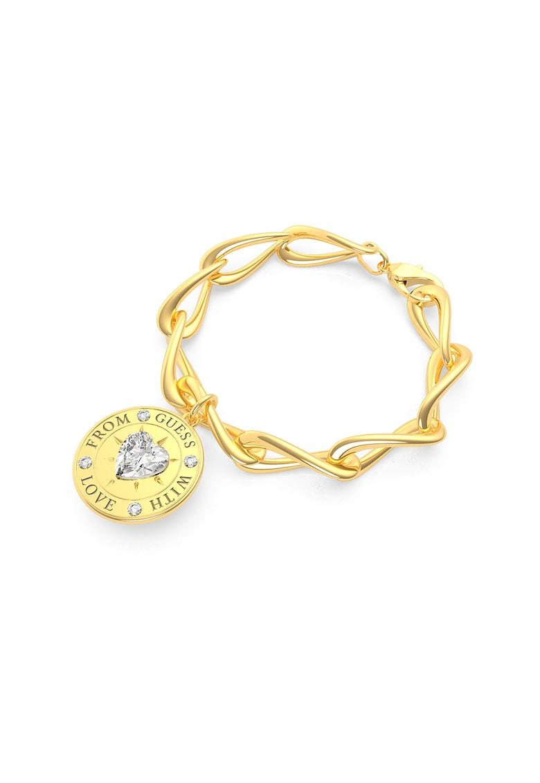 Bratara cu cristal Swarovski in forma de inima Link - placata cu aur imagine fashiondays.ro Guess
