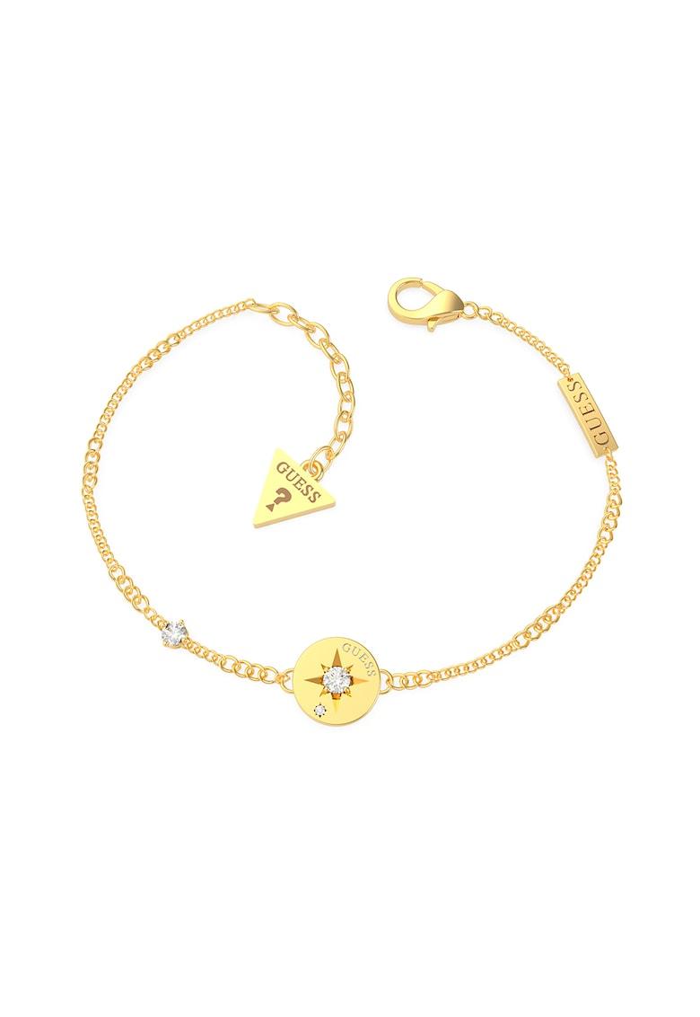 Bratara ajustabila cu talisman in forma de moneda -placata cu aur imagine fashiondays.ro Guess