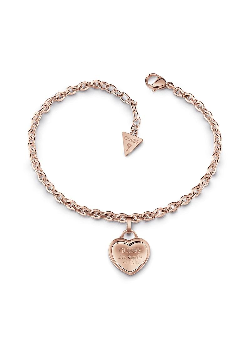 Bratara ajustabila din otel inoxidabil -placata cu aur - cu talisman in forma de inima imagine fashiondays.ro Guess