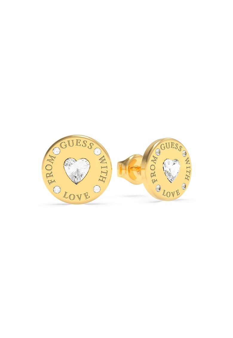 Cercei cu tija placati cu aur si decorati cu cristale Swarovski de la Guess