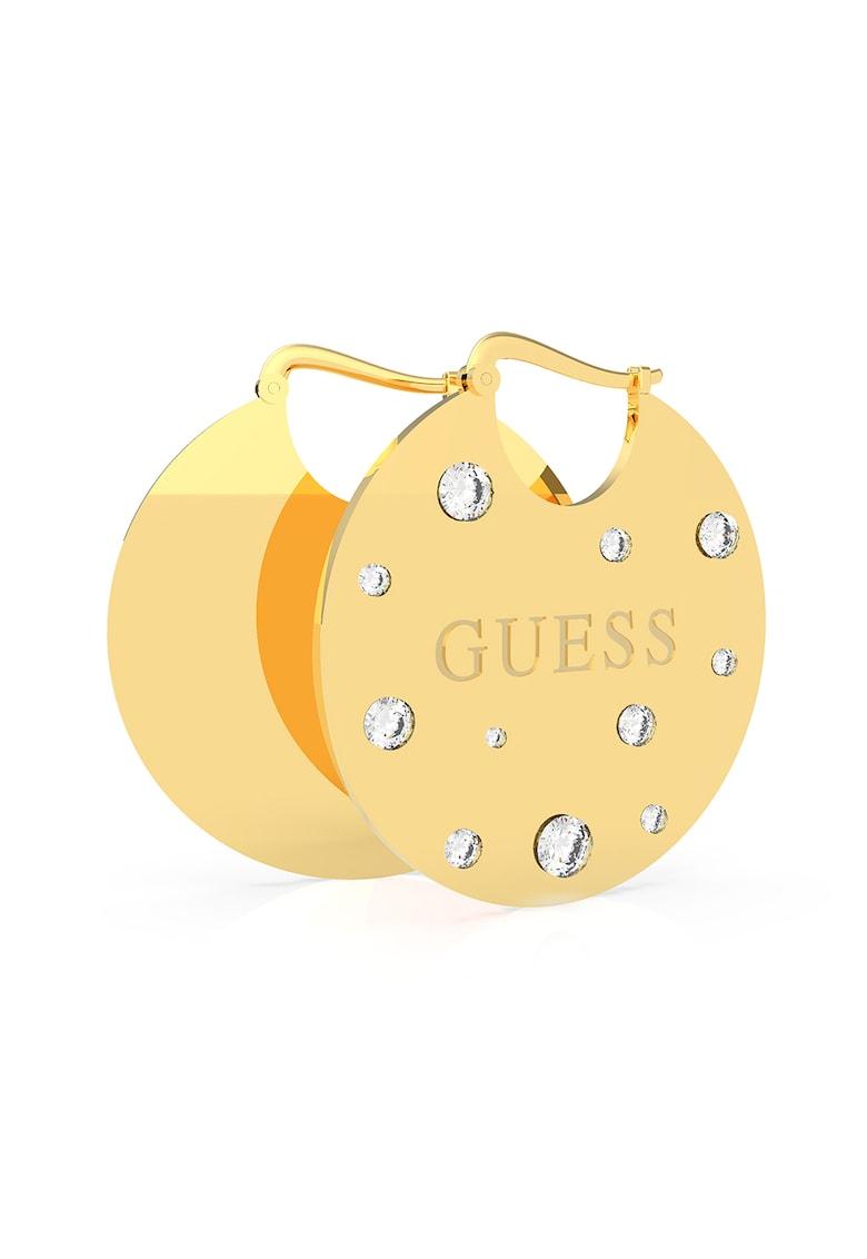 Cercei drop placati cu aur si decorati cu cristale Swarovski de la Guess