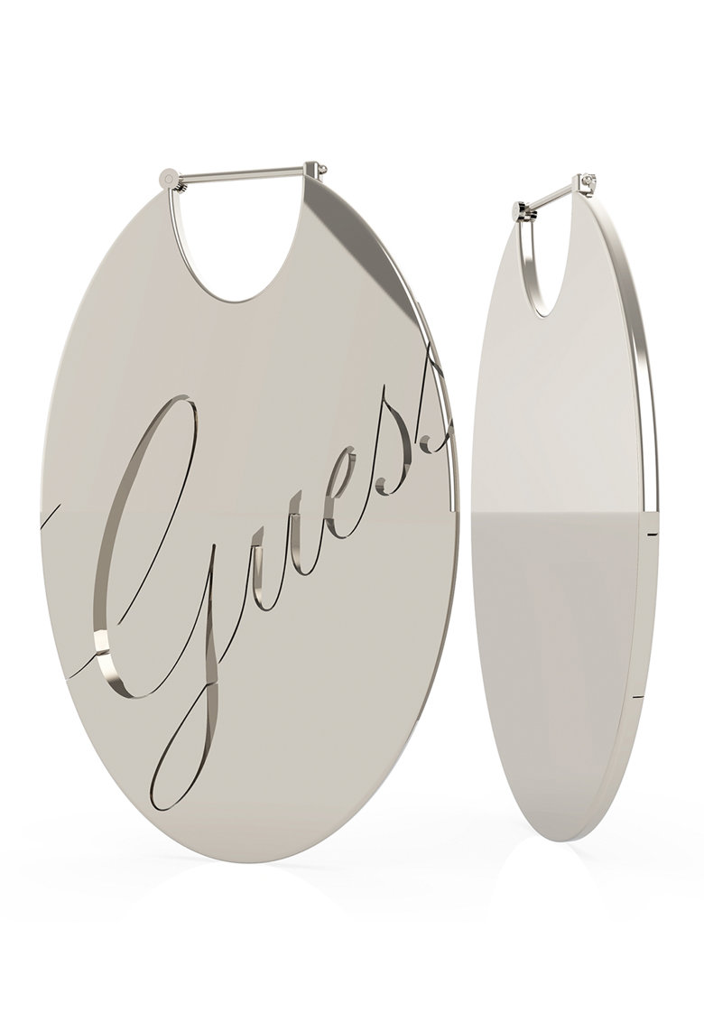 Cercei ovali din otel inoxidabil cu logo gravat de la Guess
