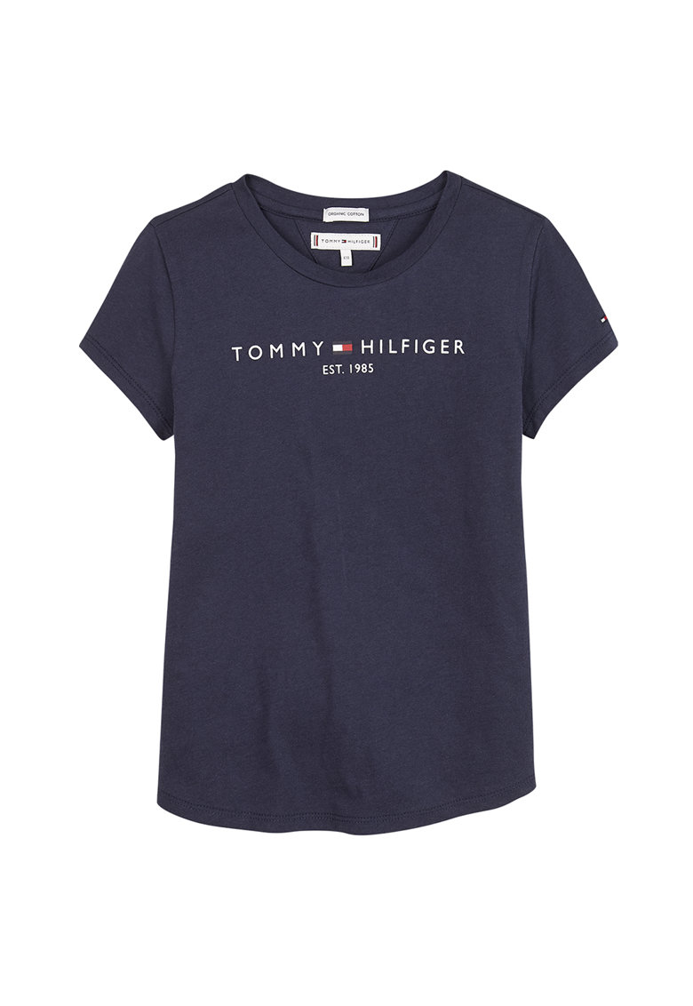 Tricou de bumbac organic cu imprimeu logo v imagine fashiondays.ro Tommy Hilfiger