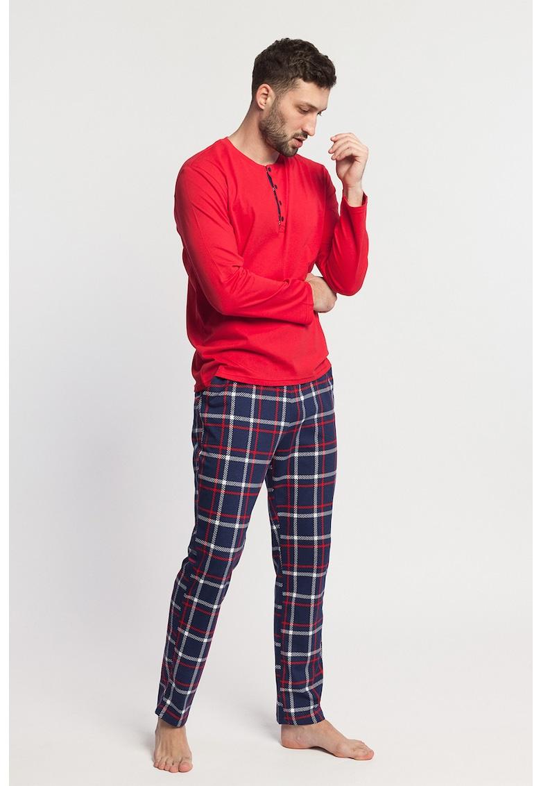 Pijama de bumbac cu model in carouri Dilan de la Sofiaman