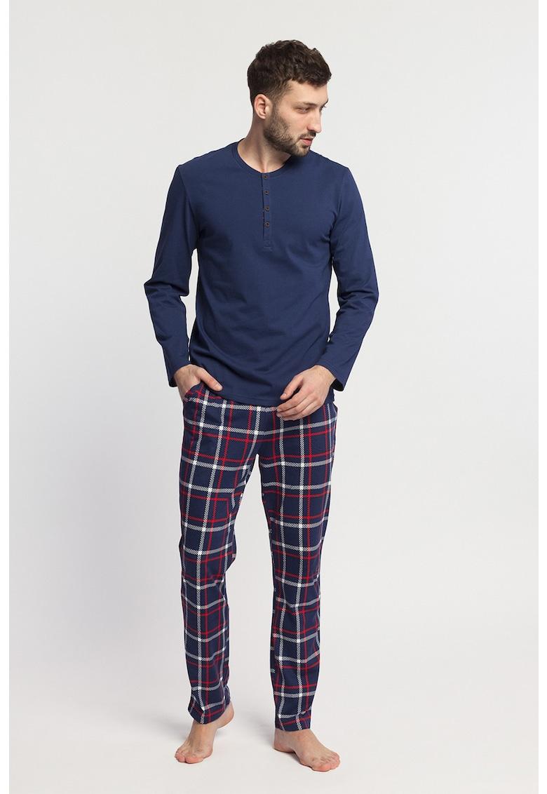 Pijama de bumbac cu model in carouri Dilan poza fashiondays