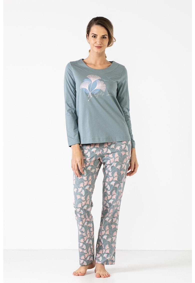 Pijama de bumbac organic cu imprimeu Ginko imagine