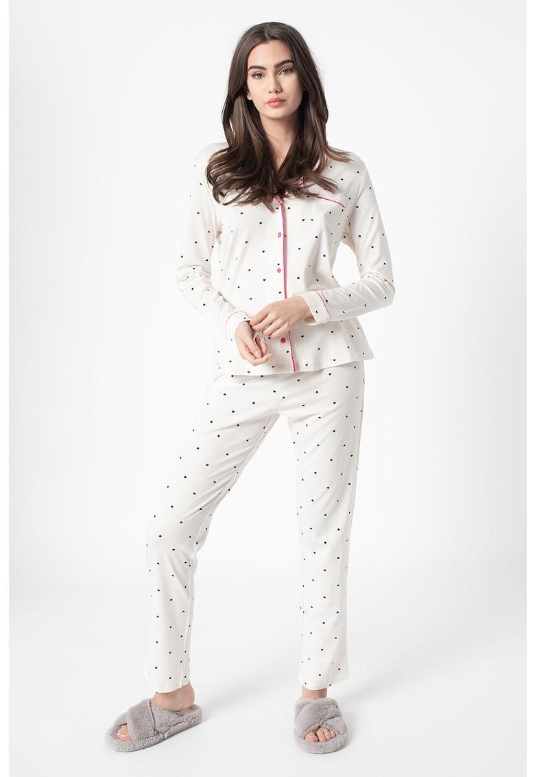 Pijama cu imprimeu grafic si buzunar pe piept poza fashiondays