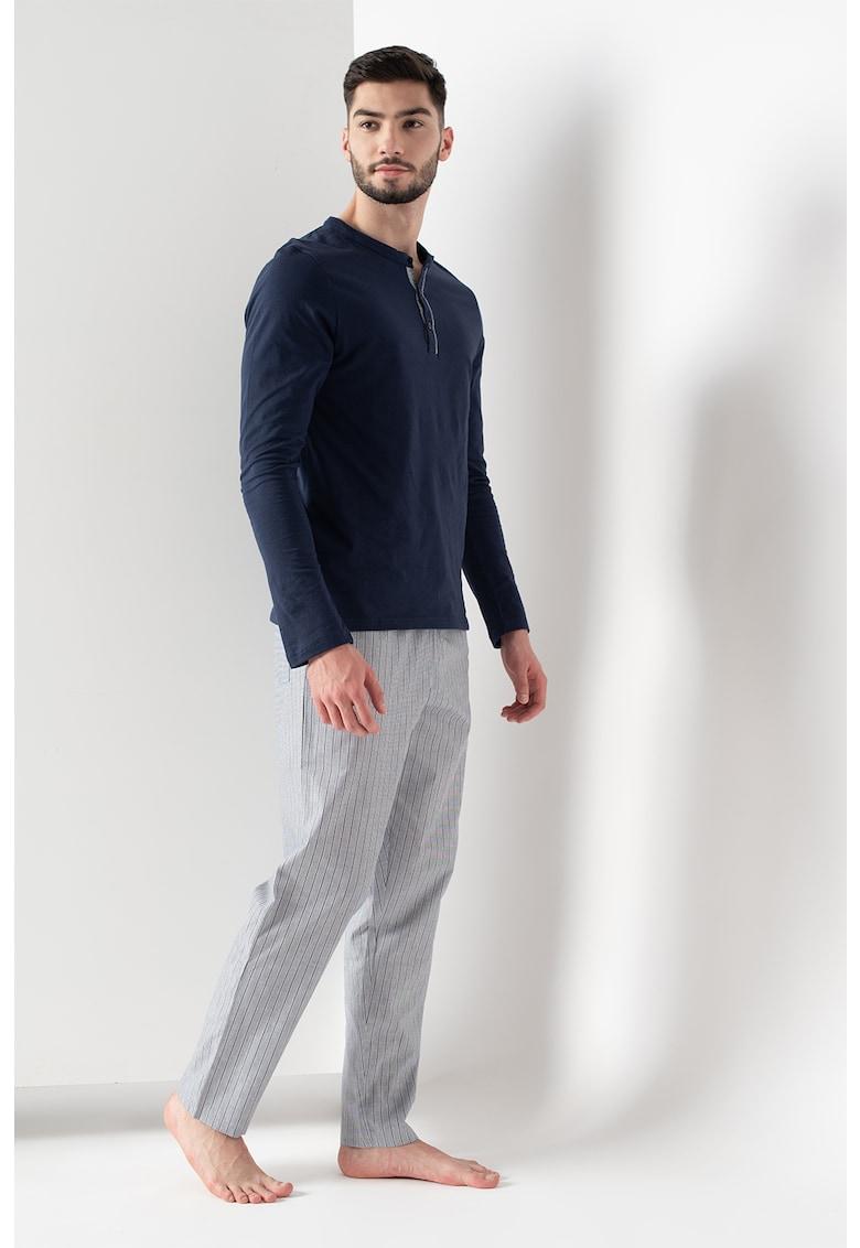 Pijama de bumbac cu maneci lungi imagine fashiondays.ro 2021